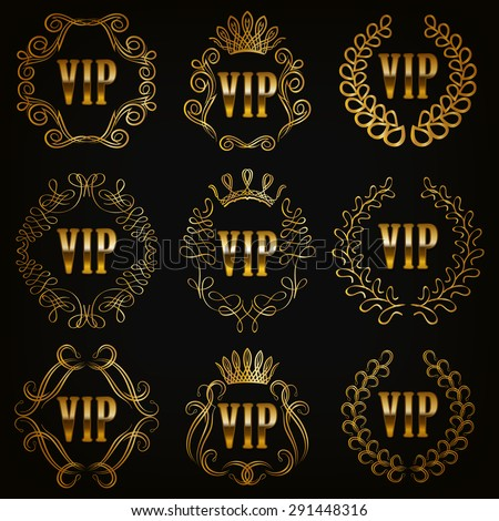 Set of gold vip monograms for graphic design on black background. Elegant graceful frame, filigree border, crown in vintage style for wedding invitations, card, logo, icon. Vector illustration EPS 10. - stock vector