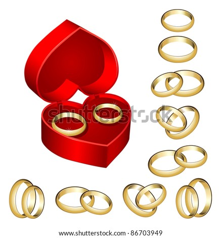 Set of gold wedding rings with heart-shaped box - stock vector