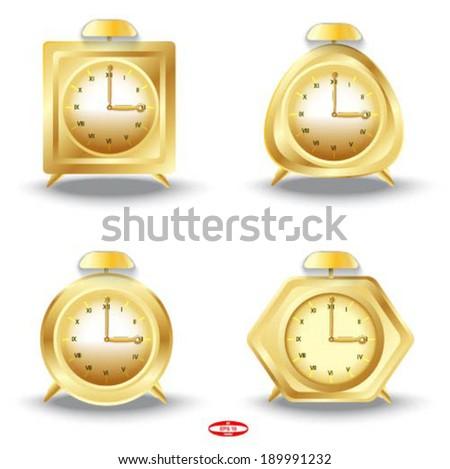 set of golden alarm clocks on white background vector - stock vector