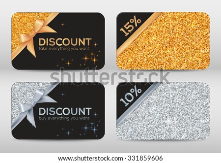 Set of golden and silver glitter black vector discount cards templates - stock vector