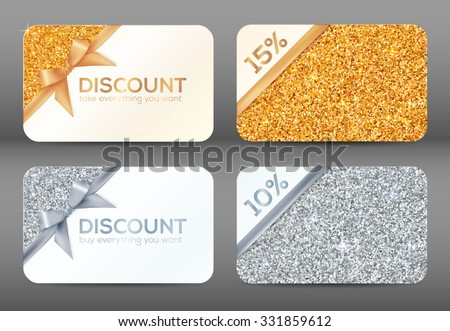 Set of golden and silver glitter white vector discount cards templates - stock vector