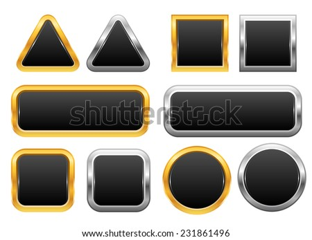 Set of golden and silver web buttons - stock vector