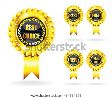 set of golden awards isolated over white background - stock vector