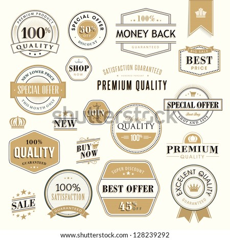 Set of golden badges and stickers for sale - stock vector