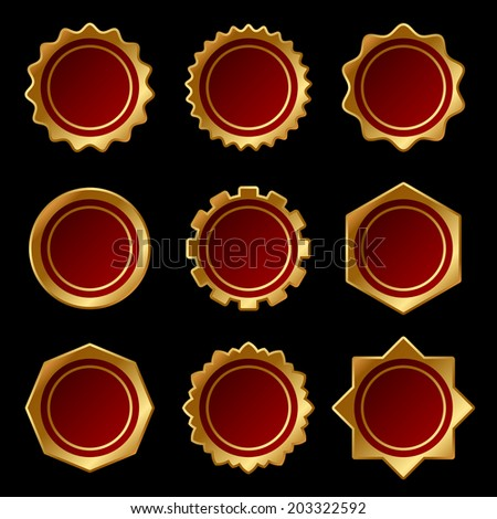 Set of Golden Blank Seal Wax Stamp. Vector illustration - stock vector
