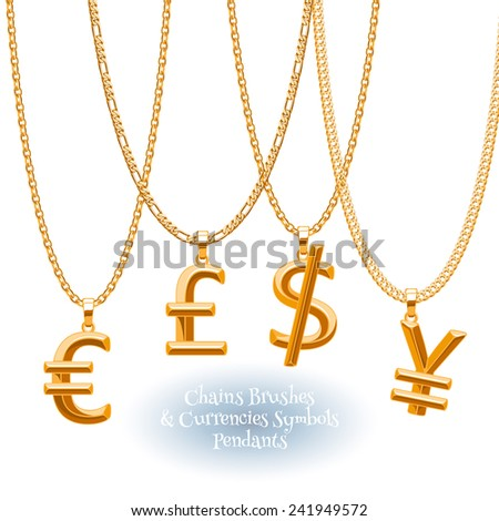 Set of golden chains with currencies symbols pendants. Precious necklaces. Dollar, pound, yen and euro jewelry design. Finance business icons. - stock vector