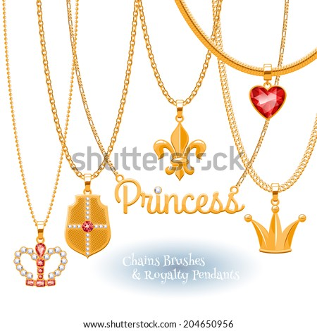 Set of golden chains with royal symbols pendants. Precious necklaces. Include chains brushes. - stock vector