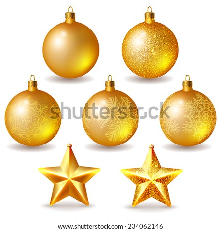 Set of golden Christmas balls and stars isolated on white - stock vector