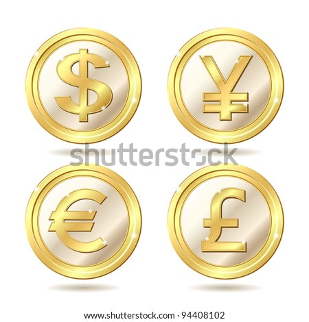 Set of golden coin with dollar, euro, pound sterling and yen signs.. Vector illustration isolated on white background - stock vector