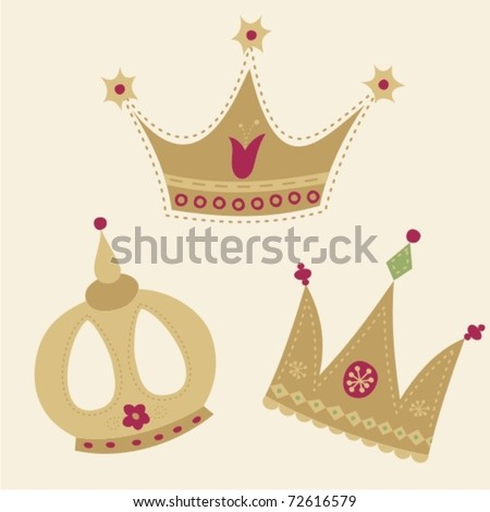 Set of 3 golden crowns - stock vector