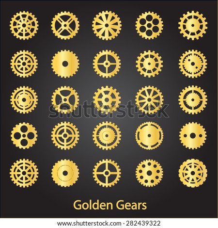 Set of golden gears of a different shapes. - stock vector
