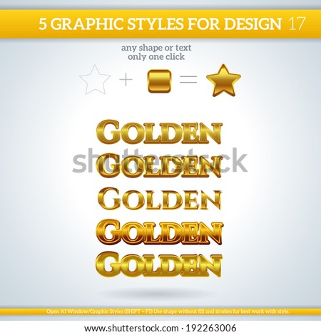 Set of Golden Graphic Styles for Design. - stock vector