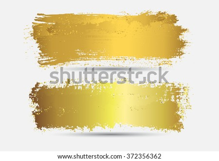 Set of golden grunge banners.Grunge backgrounds.Abstract vector template. - stock vector