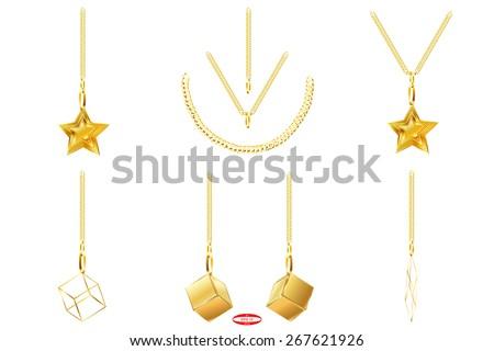 set of golden icons golden chain golden star golden cube abstract golden line isolated on white background. vector illustration - stock vector
