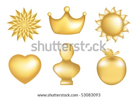 Set Of  Golden Icons, Isolated On White