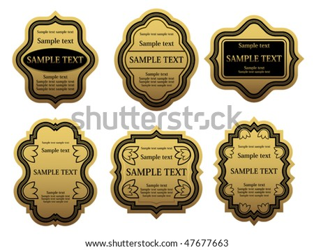 Set of golden labels for design food and beverages. Jpeg version is also available - stock vector