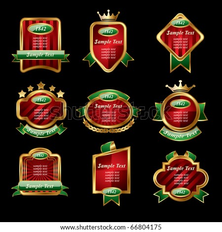 Set of golden labels on a black isolated background,vector - stock vector