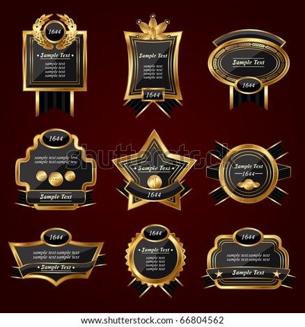 Set of golden labels on a black-red background,vector - stock vector