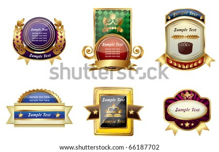 Set of golden labels on a isolated background,vector - stock vector