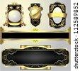 Set of golden labels.Set of retro shining golden ornamental frame label design. - stock vector