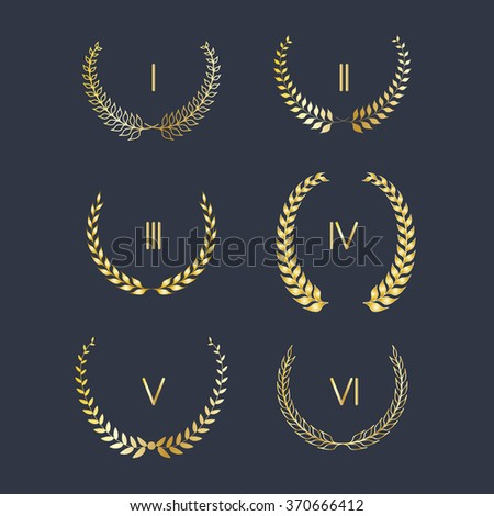 Set of golden laurel wreath vector  - stock vector