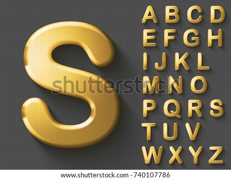 Set of golden luxury 3D uppercase english letters. Golden metallic shiny bold alphabet on gray background. Good font for wealth and jewel concepts. Transparent shadow, EPS 10 vector illustration.