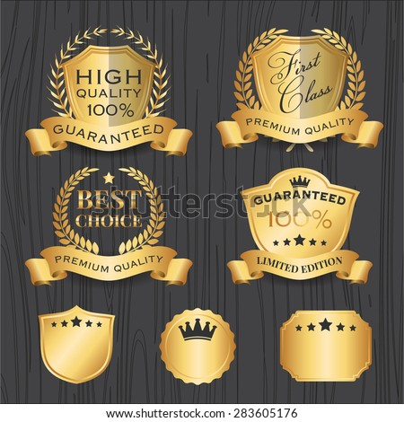 Set of Golden Premium Badges Label Template With Ribbon, Shield, Wreath Element || Design for logo, emblem, banner, sticker - stock vector