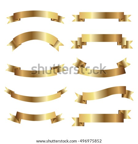 Set of golden ribbons. vector.