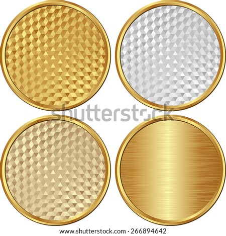 set of golden round banners - stock vector