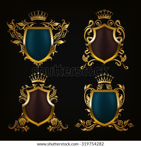 Set of golden royal shields for graphic design on black background. Old graceful frame,  border, crown, floral elements in vintage style for icon, label, emblem, badge, logo. Vector illustration EPS10 - stock vector