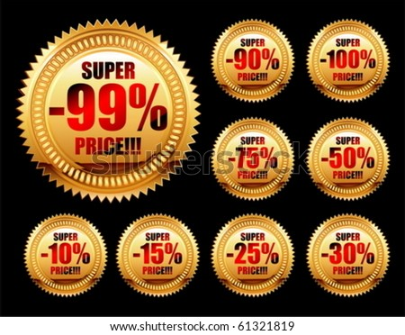 set of golden sale tags - stock vector
