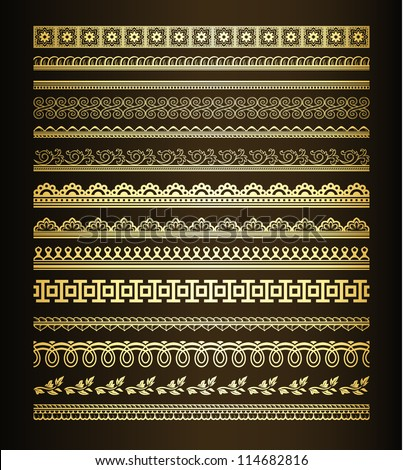 Set  of golden seamless lines and borders - stock vector