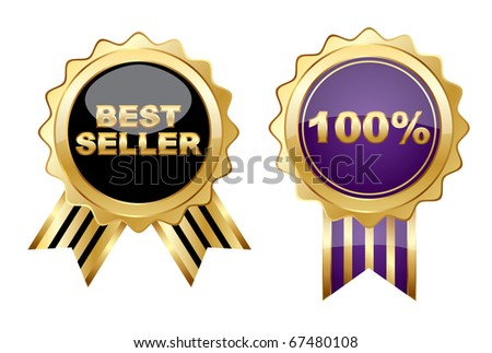 Set of golden sign on a isolated  background,vector - stock vector