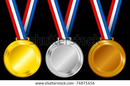 Set of Golden, Silver and Bronze Medals with Ribbons - stock vector