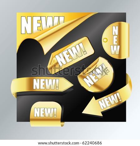 set of golden stickers - stock vector