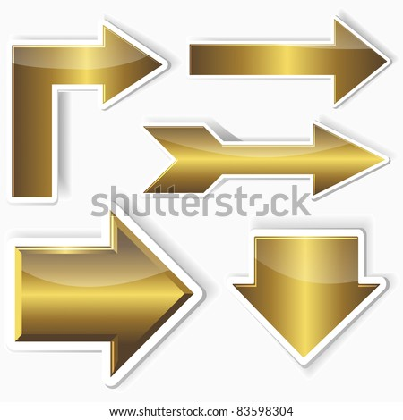 Set of golden stickers from arrows. 10EPS. vector. - stock vector
