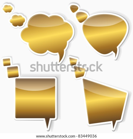Set of golden stickers from speech bubbles. 10EPS. vector.