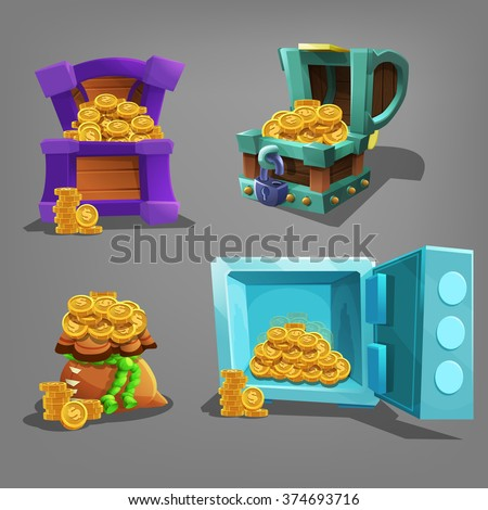 Set of golden treasure in chest, bag and safe. Vector illustration. - stock vector