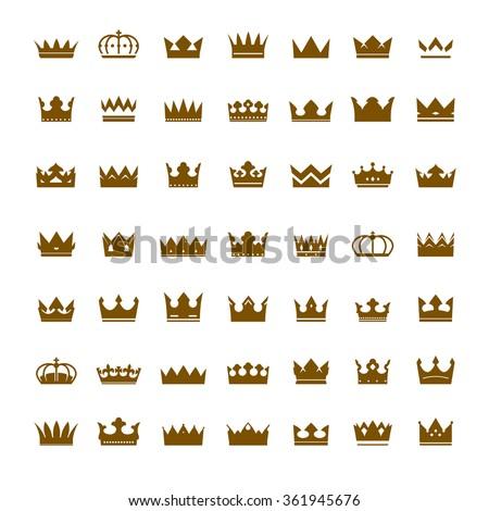 Set of golden vector crowns - stock vector
