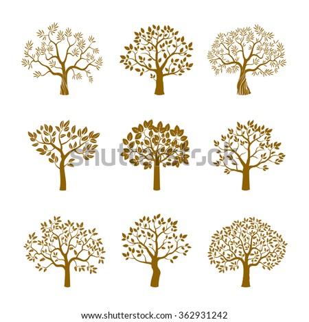 Set of golden vector trees. - stock vector