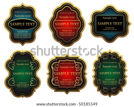 Set of golden vintage labels for design food and beverages. Jpeg version also available