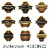 Set of golden vintage labels for design food and beverages. Jpeg version is also available - stock vector