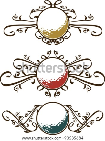 Set of Golf Ball Vector Scrolls - stock vector