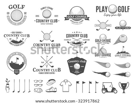 Set of golf country club logo templates. Golf labels with sample text. Golf icons for golf tournaments, organizations and golf country clubs. Vector logotype design. - stock vector