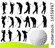 set of golf player vector - stock vector