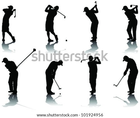 Set of golf silhouettes-vector - stock vector