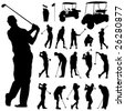 set of golf vector - stock photo
