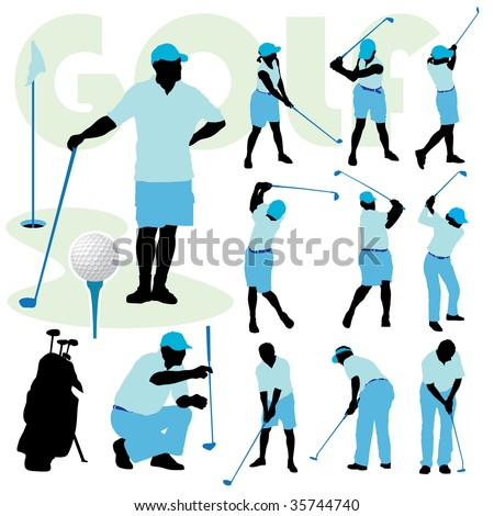 Set of golfing people silhouette on a golf course. - stock vector