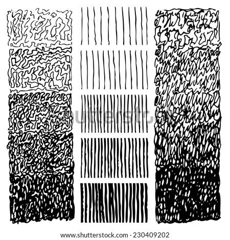 Set of gradient ink textures. Hatching and loops. Ink hand drawn textures. Vector design elements - stock vector
