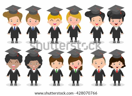 set of Graduation kids, happy child graduates, Graduation children,Graduates in gowns and with diploma, students graduating, university students graduation,people graduation, Different nationalities - stock vector